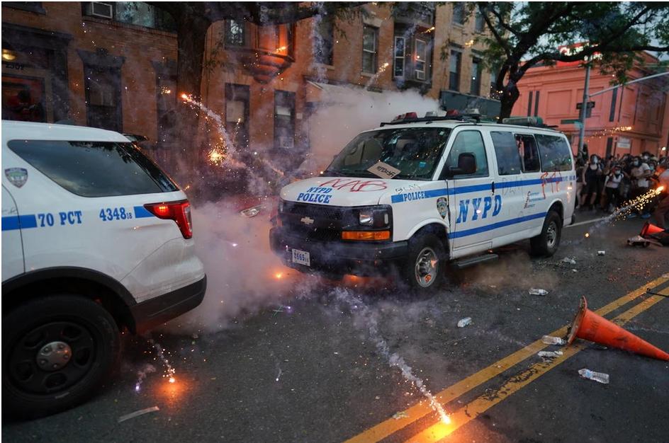 New York Police car burnt